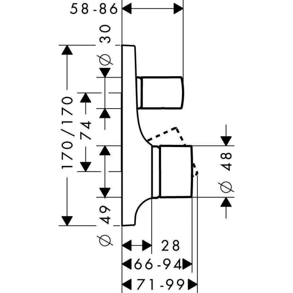 Смеситель для ванны AXOR Massaud для скрытого монтажа хром  18455000