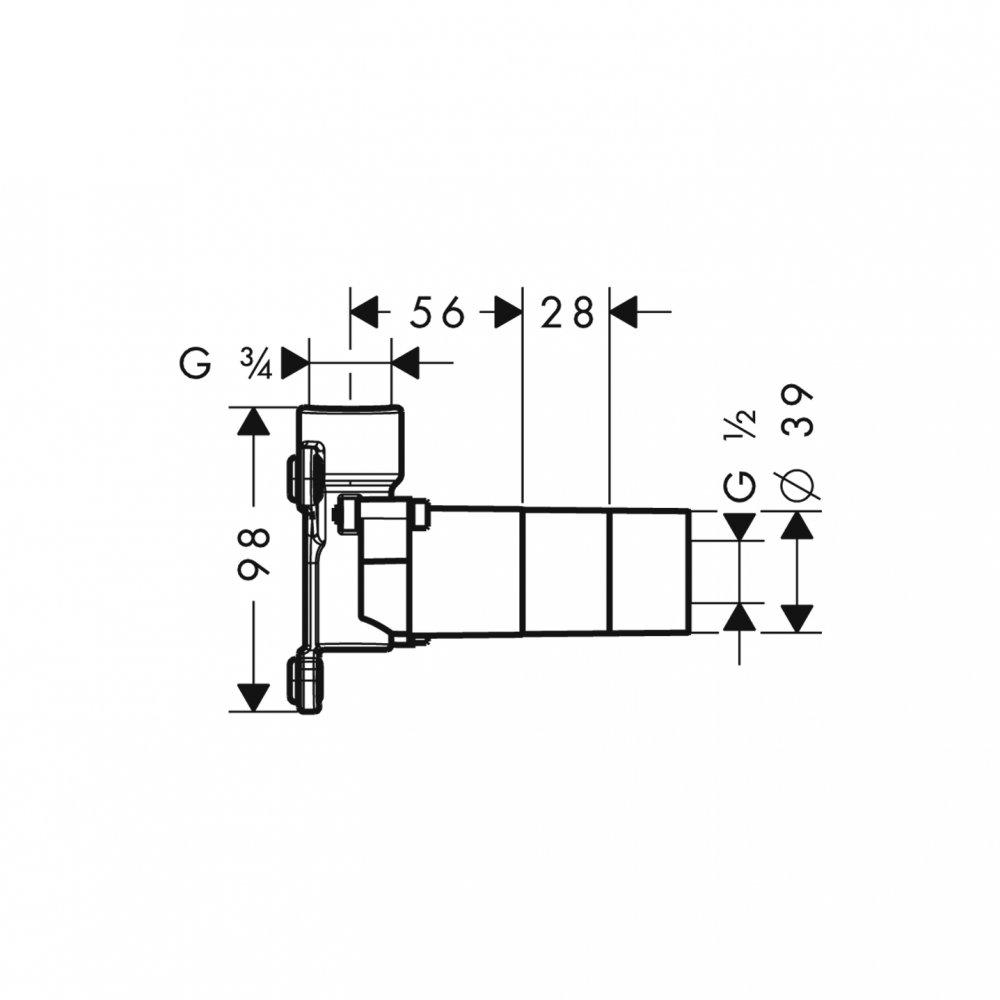 Скрытая часть AXOR Massaud для излива на ванну 3/4   18471180