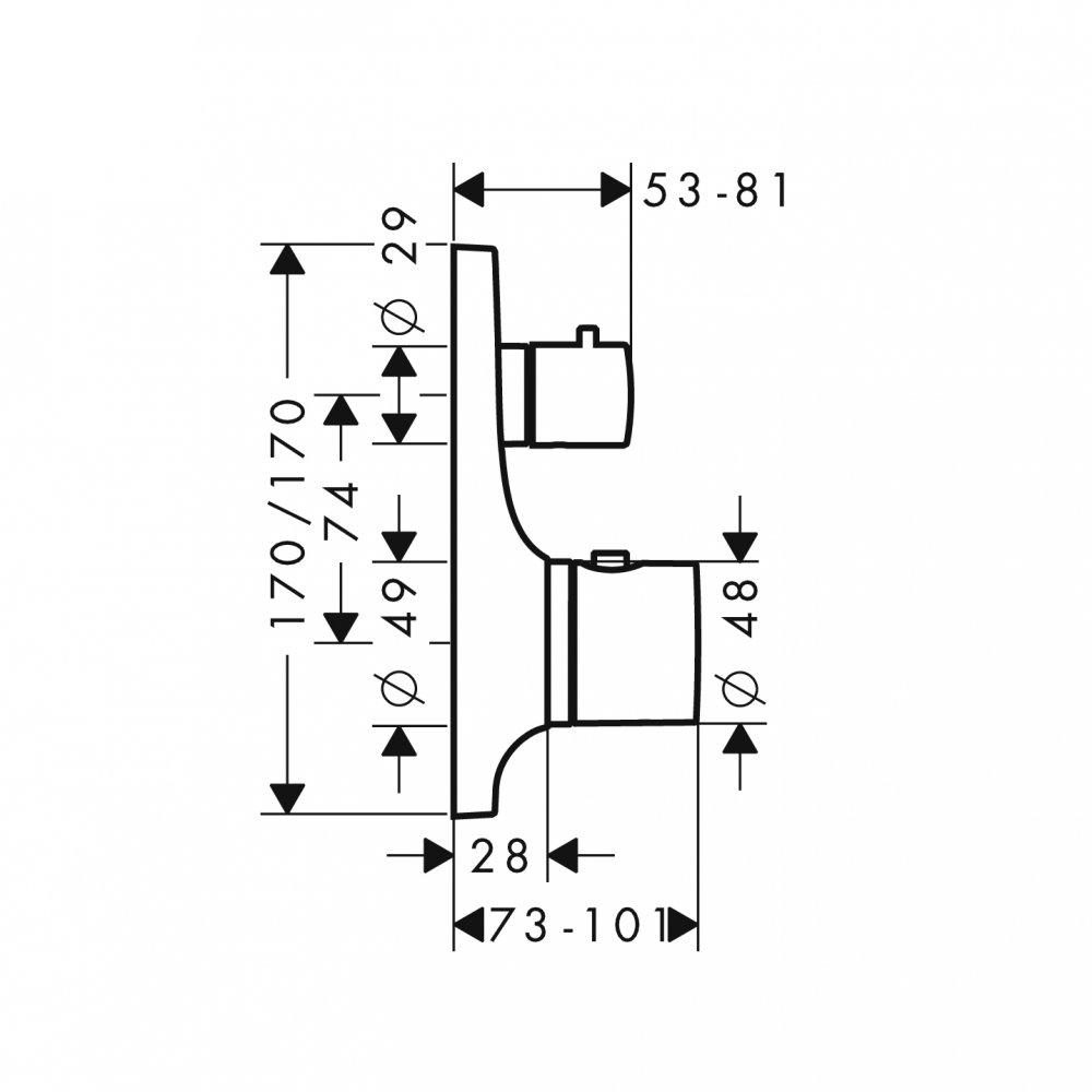 Термостат AXOR Citterio M с запорным вентилем для скрытого монтажа хром  18745000