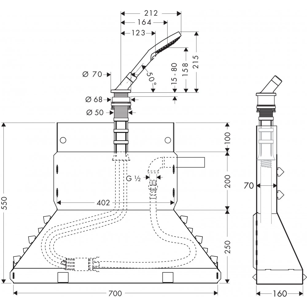 Набор AXOR Secuflex на край ванны с ручным душем 1/2  хром  19418000