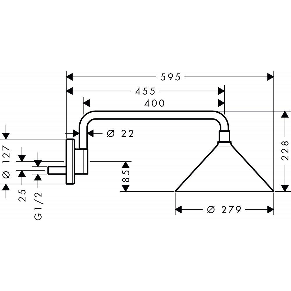 Верхний душ AXOR Showers/Front 240 2jet с держателем дизайн Front хром  26021000