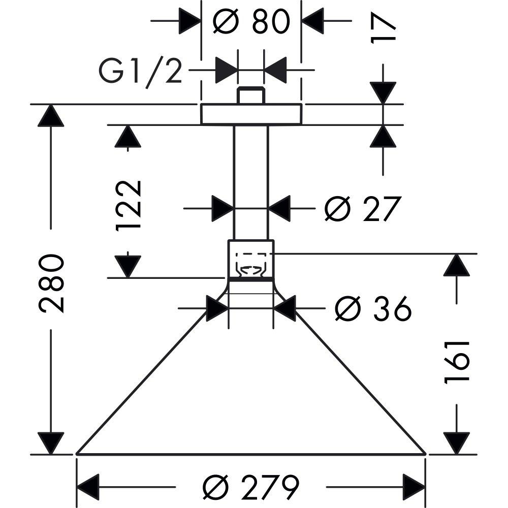 Верхний душ AXOR Showers/Front 240 2jet с потолочным подсоединением дизайн Front хром  26022000