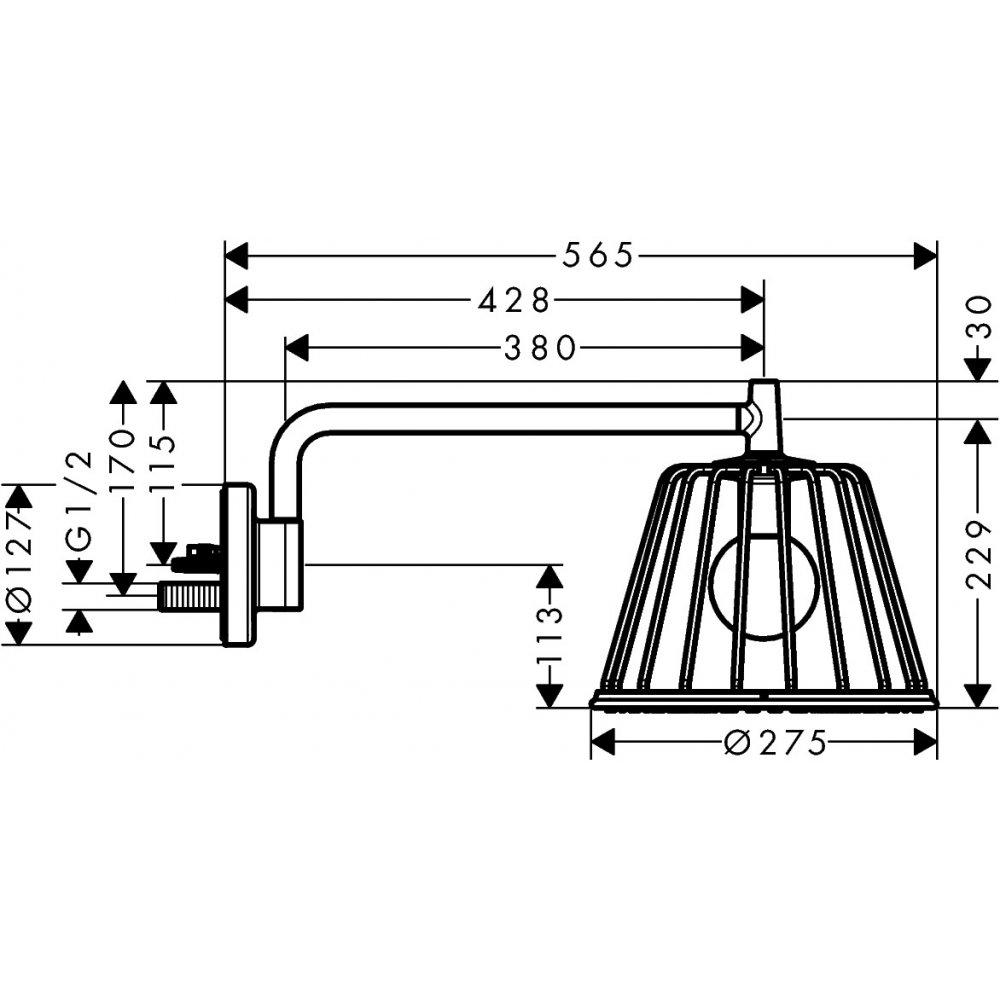 Верхний душ AXOR Lampshower/Nendo 1jet с держателем хром  26031000