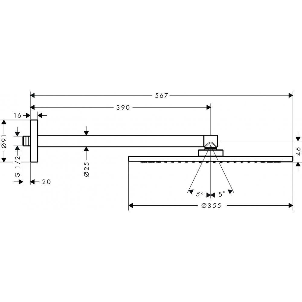 Верхний душ AXOR ShowerSolutions 350 1jet с душевым держателем шлифованный никель  26034820