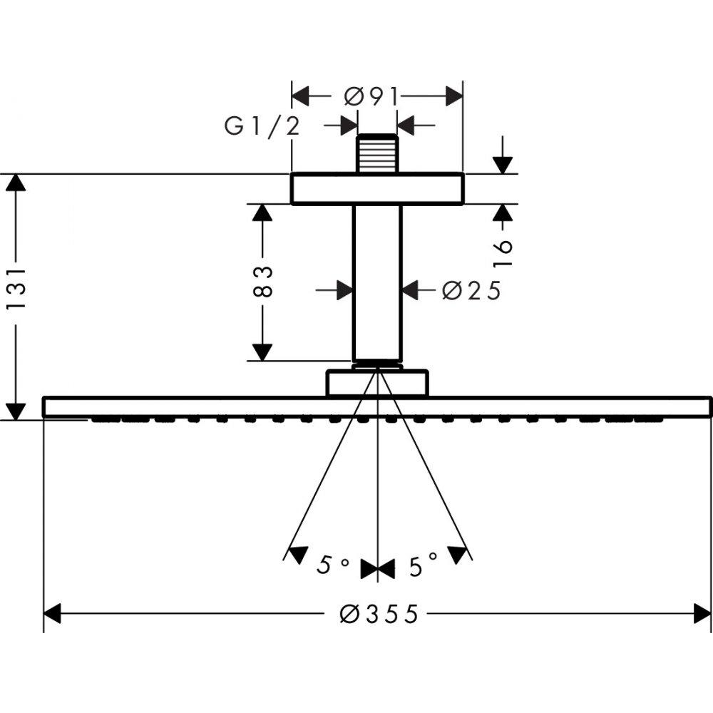 Верхний душ AXOR ShowerSolutions 350 1jet с потолочным подсоединением круглый хром  26035000