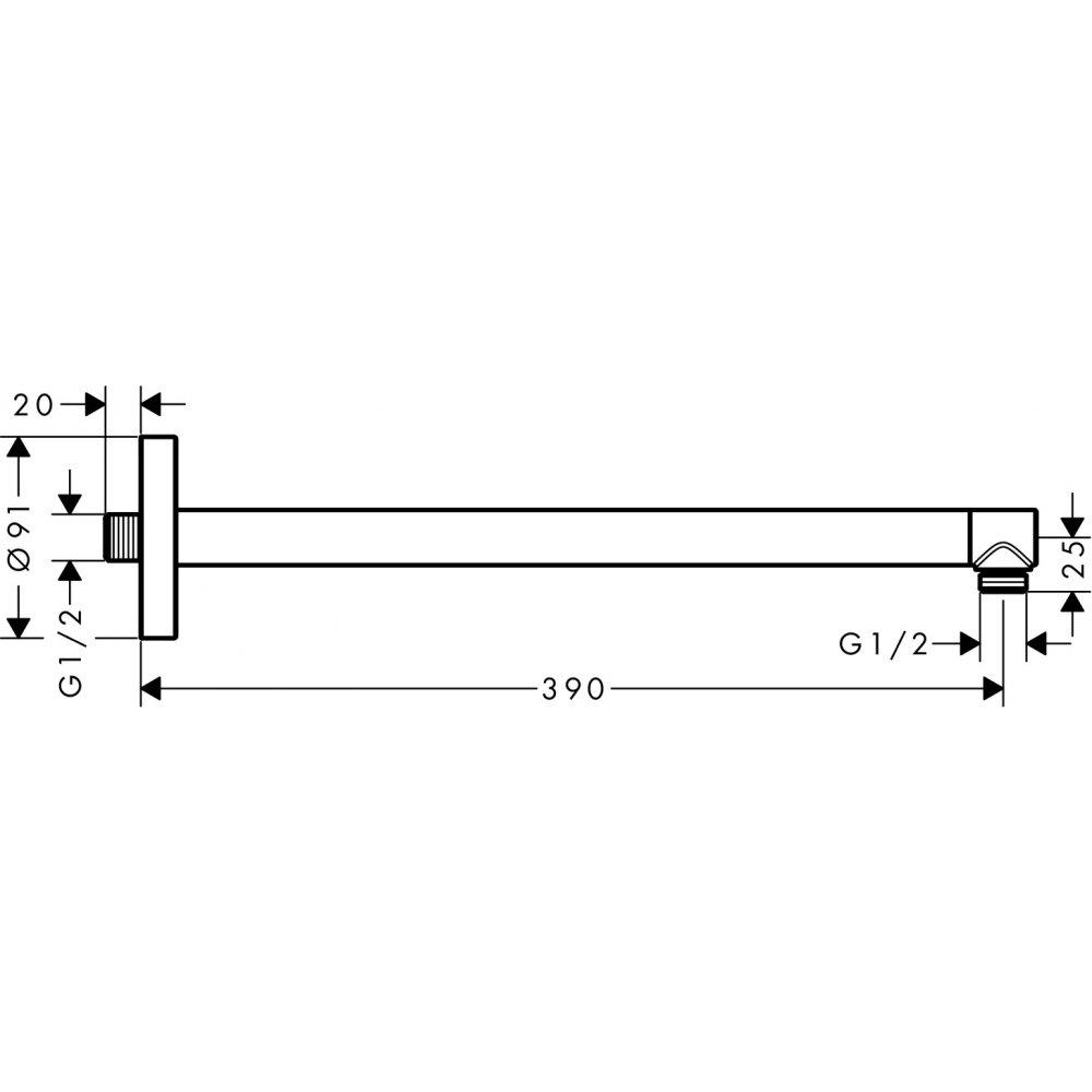 Держатель душа AXOR 390 мм ShowerSolutions шлифованный никель  26431820
