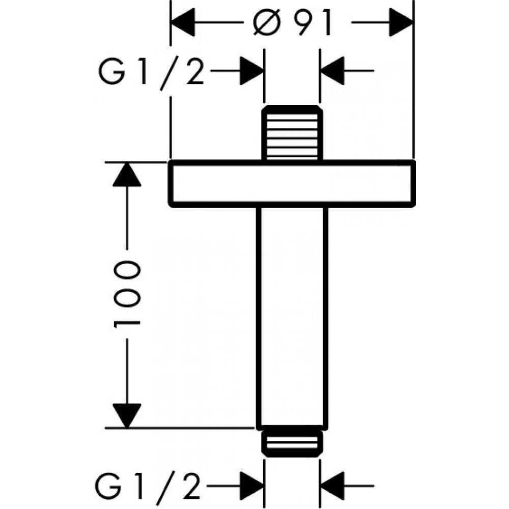 Потолочное подсоединение AXOR ShowerSolutions 100 мм шлифованный никель  26432820