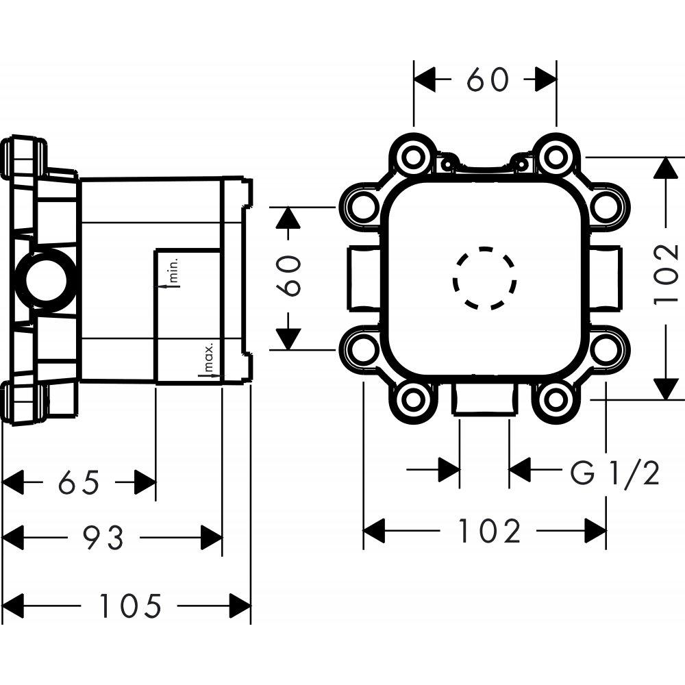 Скрытая часть для верхнего душа AXOR Showers/Front 1jet с держателем и верхнего душа AXOR 240 2jet с держателем дизайн Front  26909180