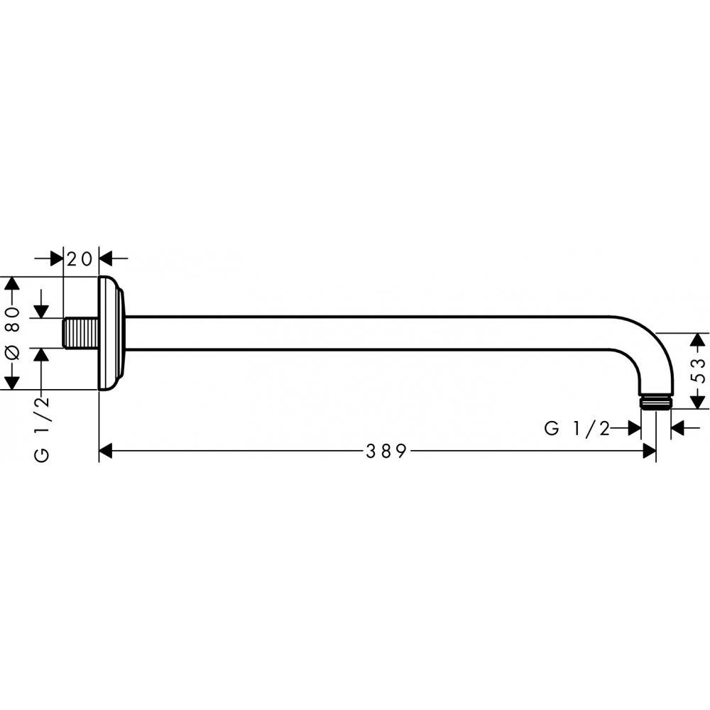 Держатель душа AXOR Montreux 389 мм 1/2  шлифованный никель  27348820