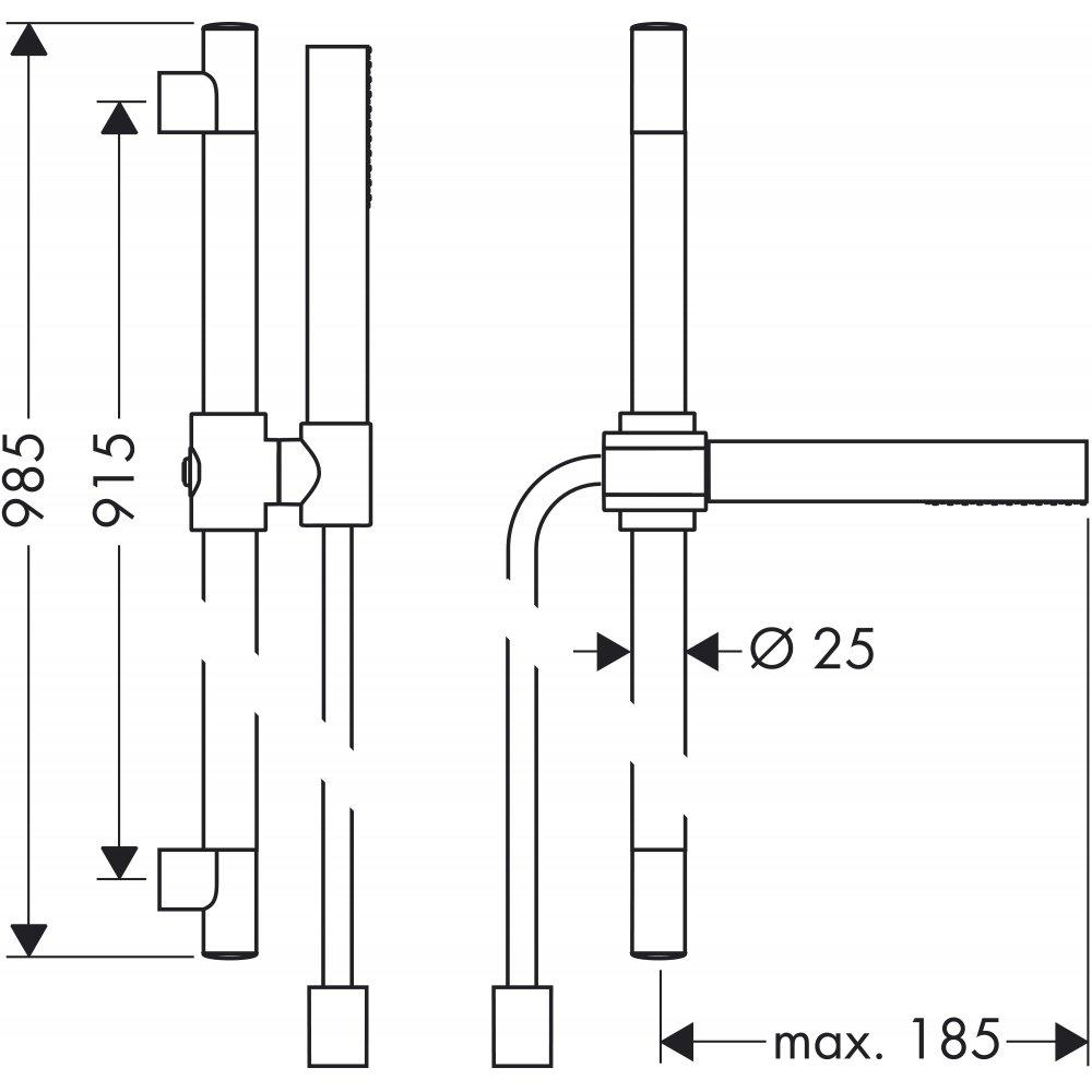 Душевой набор AXOR Starck с ручным душем- палочкой  1jet 1/2  хром  27983000