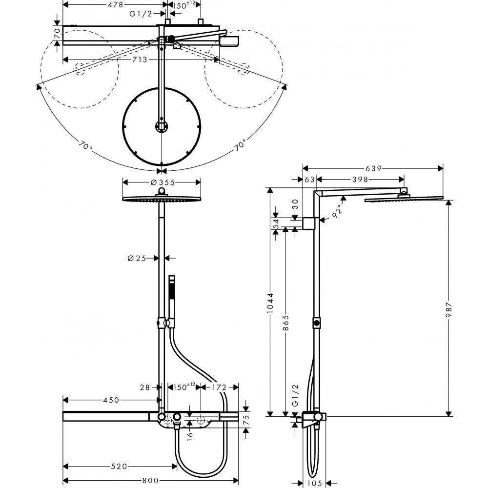 AXOR Citterio Showerpipe с однорычажным смесителем и верхним душем 1/2  хром  27984820