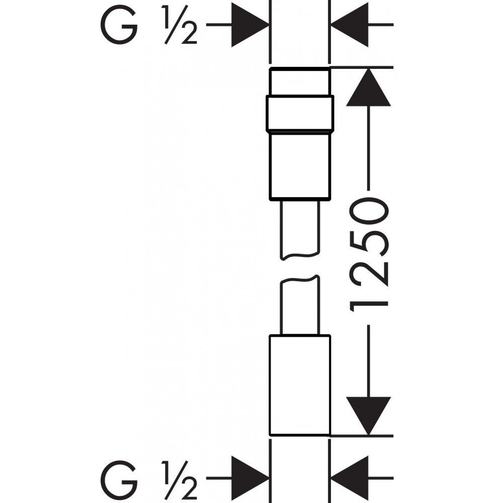 Душевой шланг AXOR 1 м 25 см с регулировкой напора хром  28127000