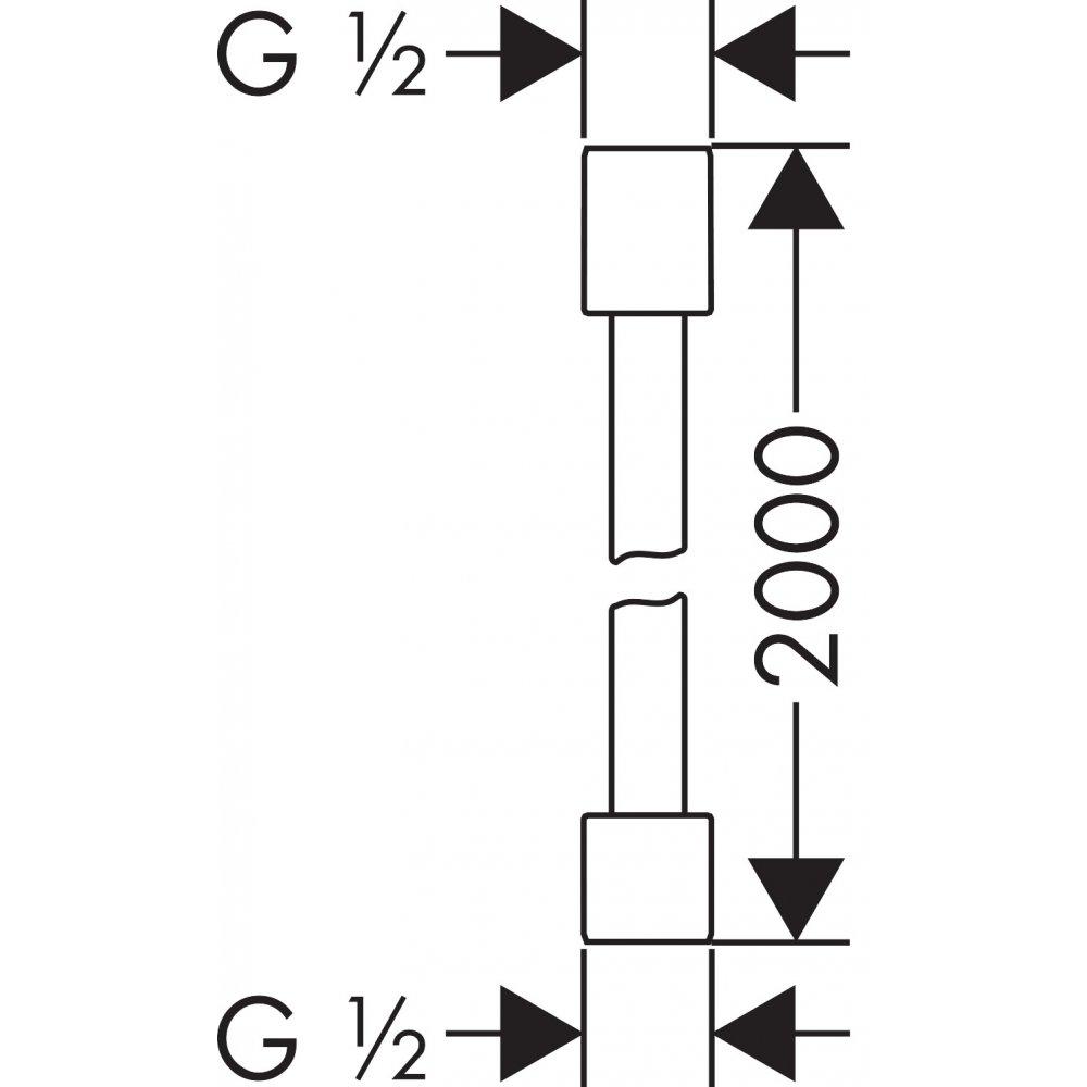 Шланг AXOR Starck с металлическим эффектом 1 м 60 см 1/2  x 1/2  хром  28284000