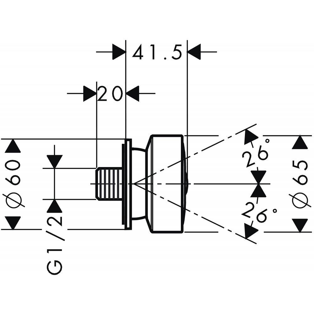 Боковая форсунка 1jet круглая AXOR 1/2  хром  28464000