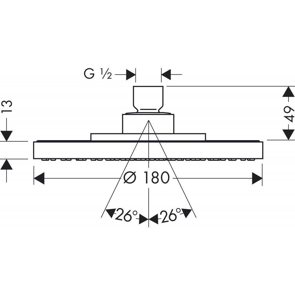 Верхний душ AXOR Starck диаметр 180 мм 1/2  хром  28484000