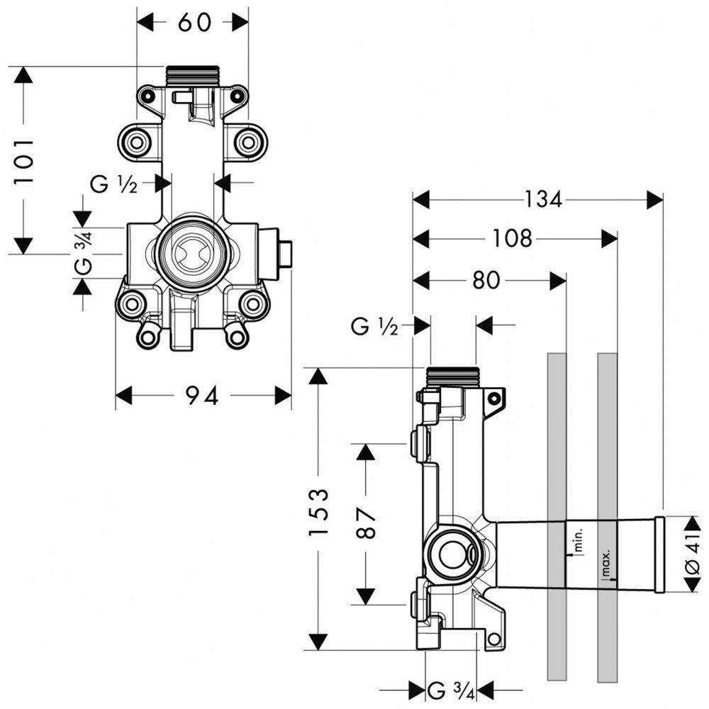 Модуль душа AXOR ShowerSolutions скрытая часть 3/4   28486180