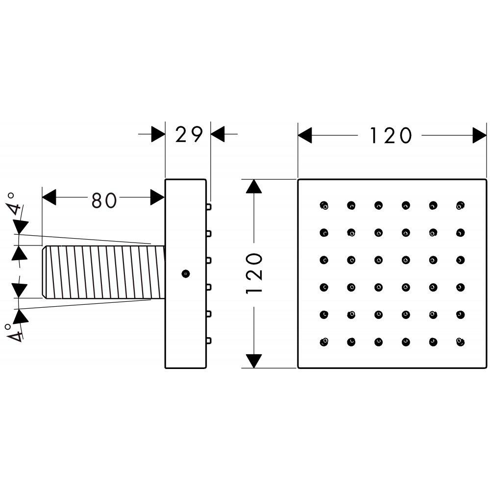 Модуль душа AXOR ShowerSolutions внешняя часть 1/2  хром  28491000