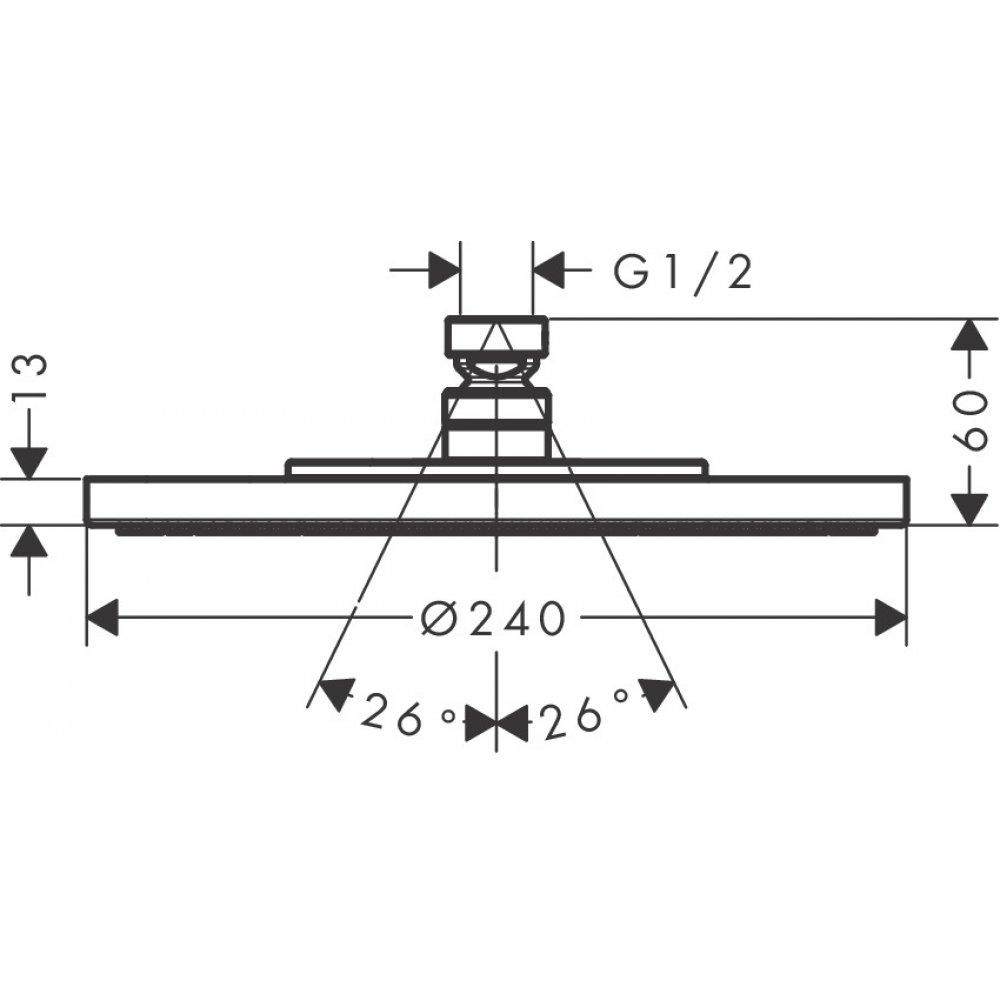 Верхний душ AXOR Starck диаметр 240 мм 1jet 1/2  хром  28494000