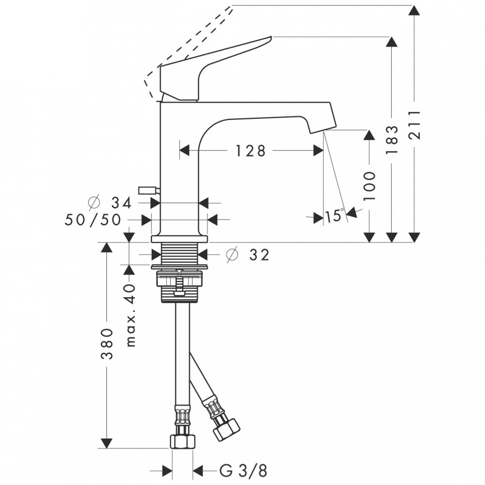 Смеситель AXOR Citterio M для раковины с высотой излива 100 мм со сливным гарнитуром хром  34010000