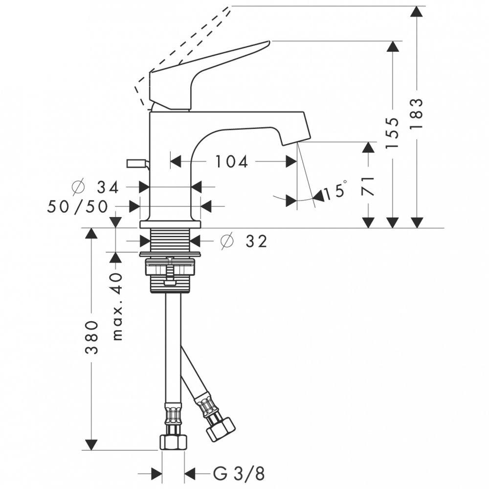 Смеситель для маленькой раковины AXOR Citterio M с высотой излива 70 мм со сливным гарнитуром хром  34016000