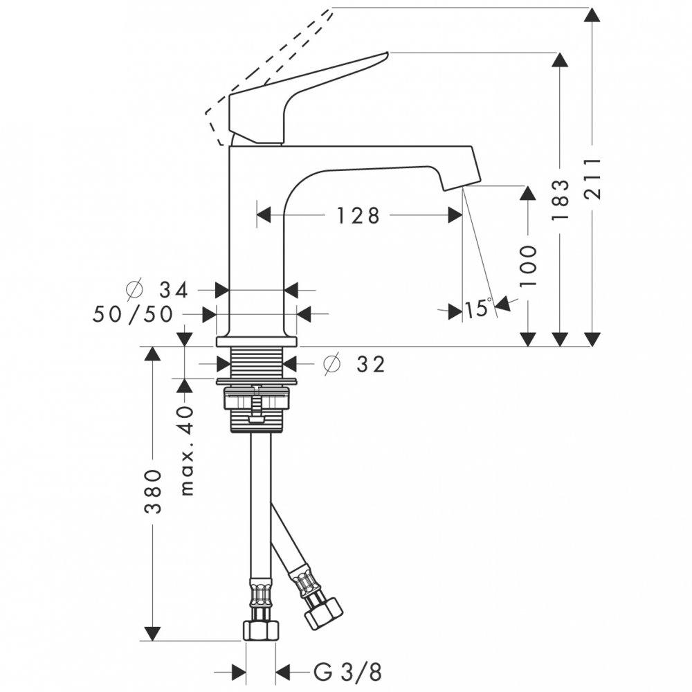 Смеситель AXOR Citterio для раковины без донного клапана хром  34017000