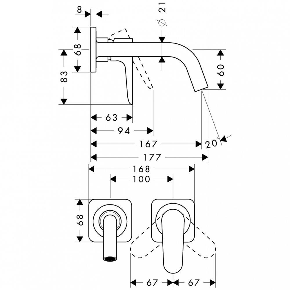Смеситель AXOR Citterio E для раковины с розетками и изливом 220 мм с незапираемым сливным набором настенный монтаж и для скрытого монтажа хром  34113000