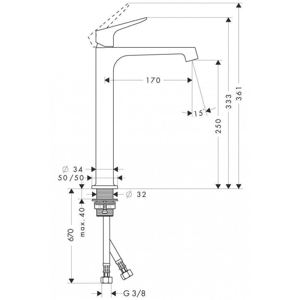 Смеситель AXOR Citterio E для раковины в форме таза с высотой излива 250 мм с незапираемым сливным набором хром  34127000