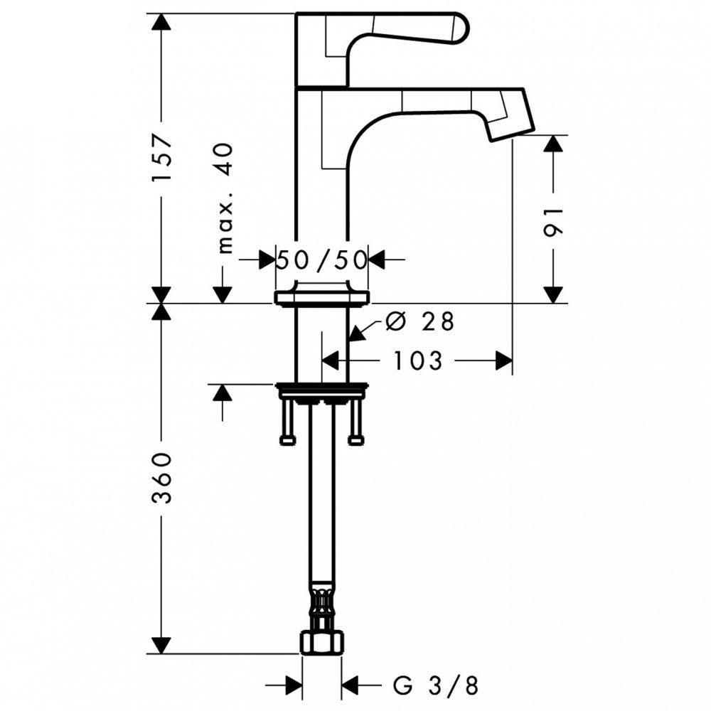 Кран AXOR Citterio M 1/2  без сливного набора хром  34130000