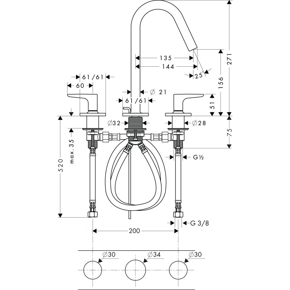 Смеситель AXOR Citterio M для раковины с высотой излива 160 мм на 3 отверстия с рычаговыми рукоятками розетками и коротким изливом хром  34133000