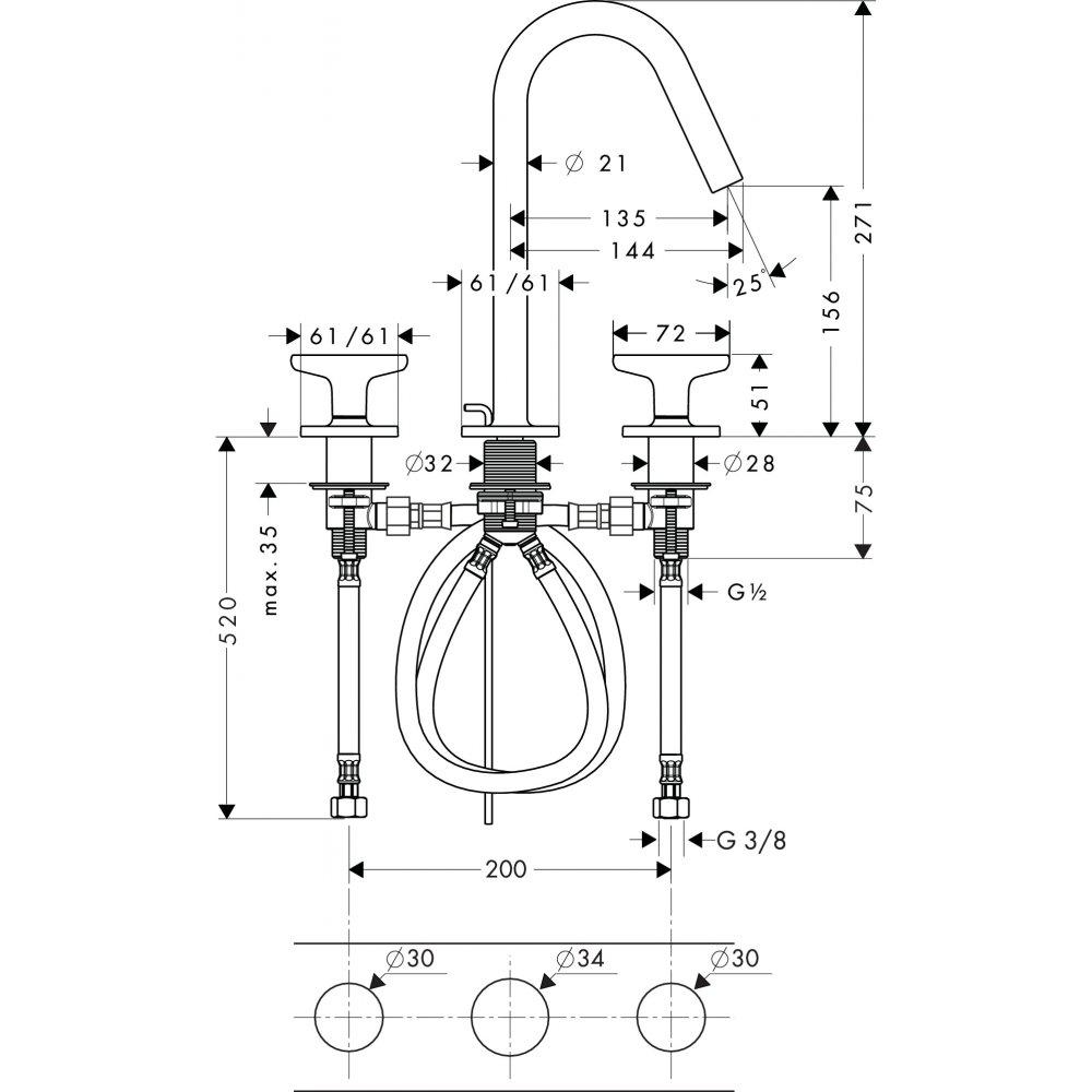 Смеситель AXOR Citterio M для раковины с высотой излива 160 мм на 3 отверстия с рукоятками в форме звезд и розеткой со сливным гарнитуром хром  34135000