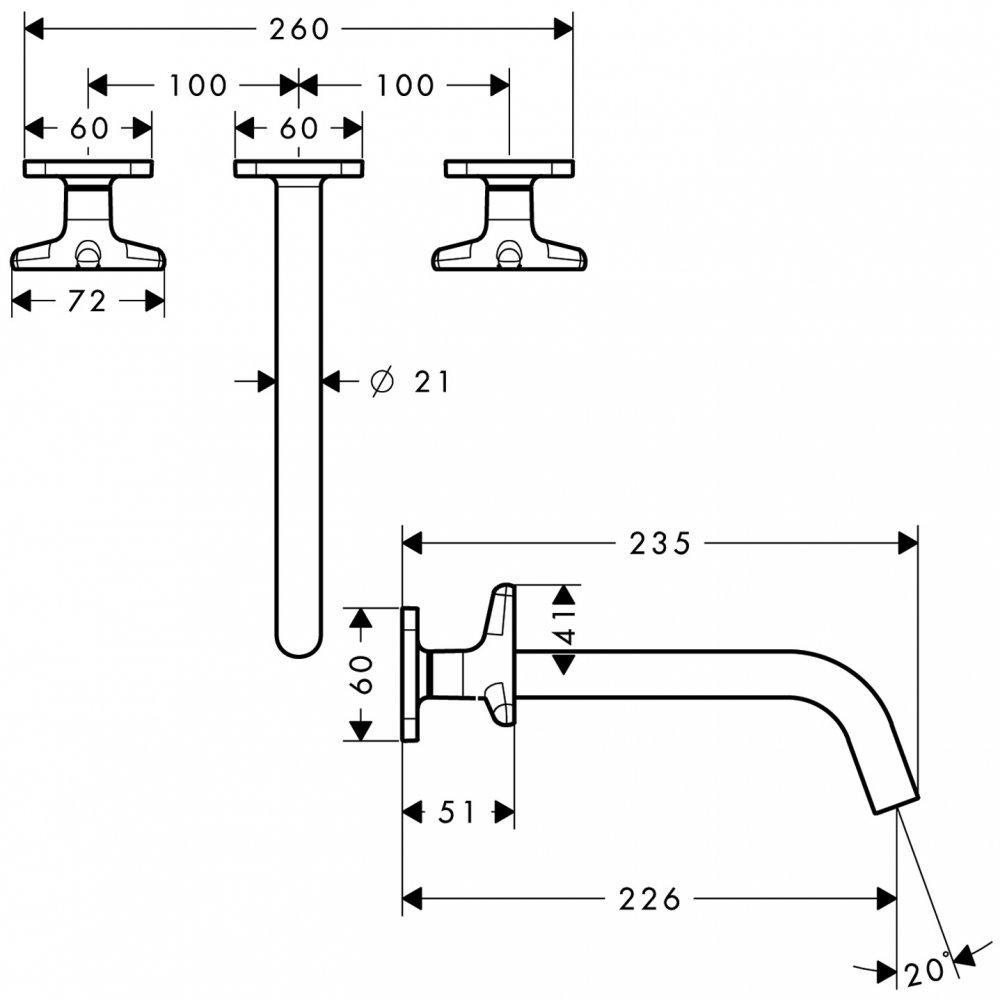 Смеситель AXOR Citterio для раковины на 3 отверстия с рычаговыми рукоятками панелью и изливом 226 мм с незапираемым сливным набором настенный монтаж и для скрытого монтажа хром  34217000