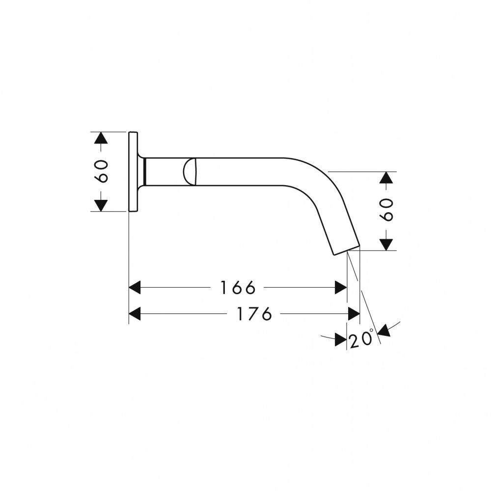 Смеситель для раковины на 3 отверстия, скрытого монтажа, с изливом 166 мм, с рычаговыми рукоятками, с отдельными розетками