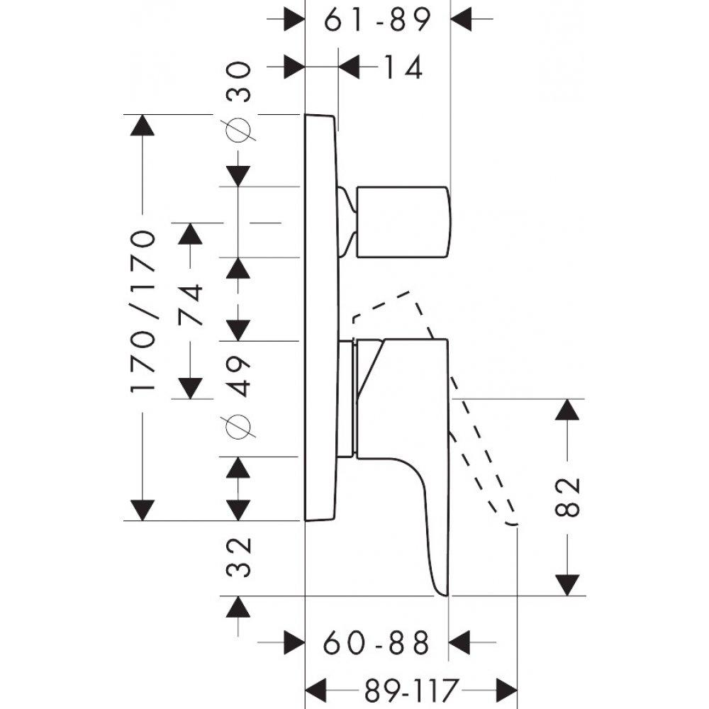 Смеситель для ванны AXOR Citterio M для скрытого монтажа со встроенной защитной комбинацией хром  34427000