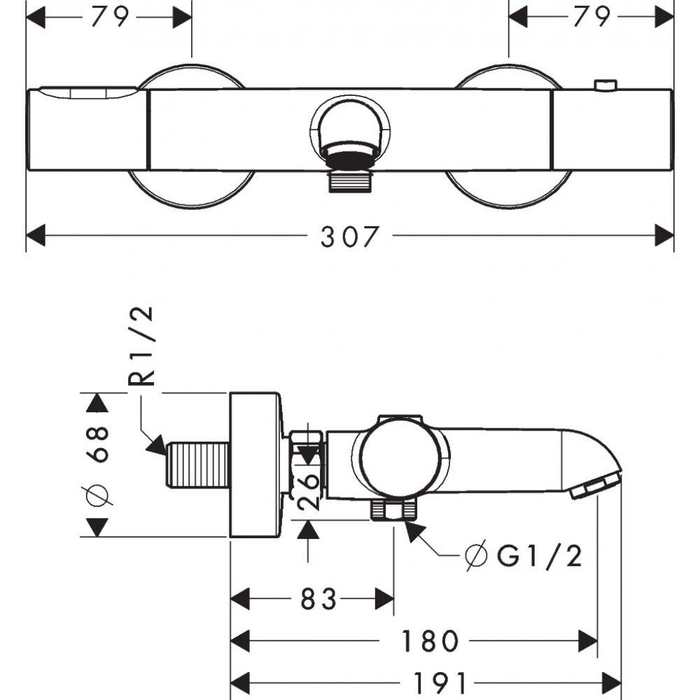 Термостат AXOR Starck на край ванны на 2 отверстия 1/2  хром  34435000