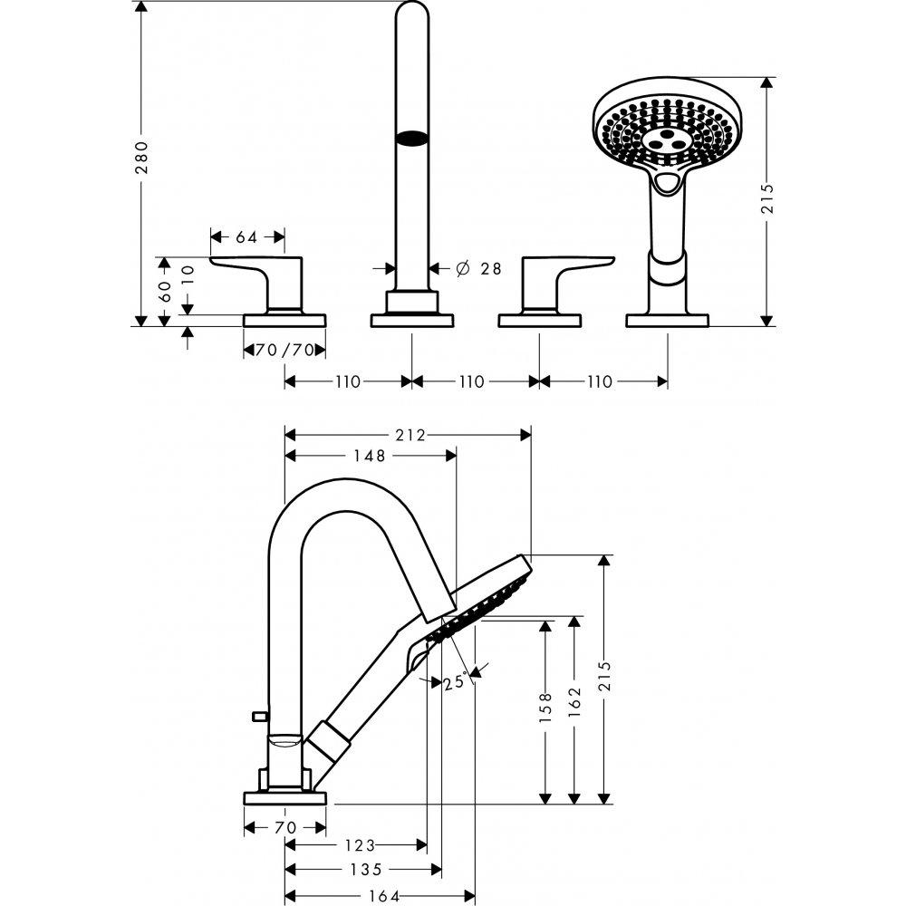 Смеситель AXOR Starck на край ванны на 4 отверстия с термостатом 1/2  хром  34444000