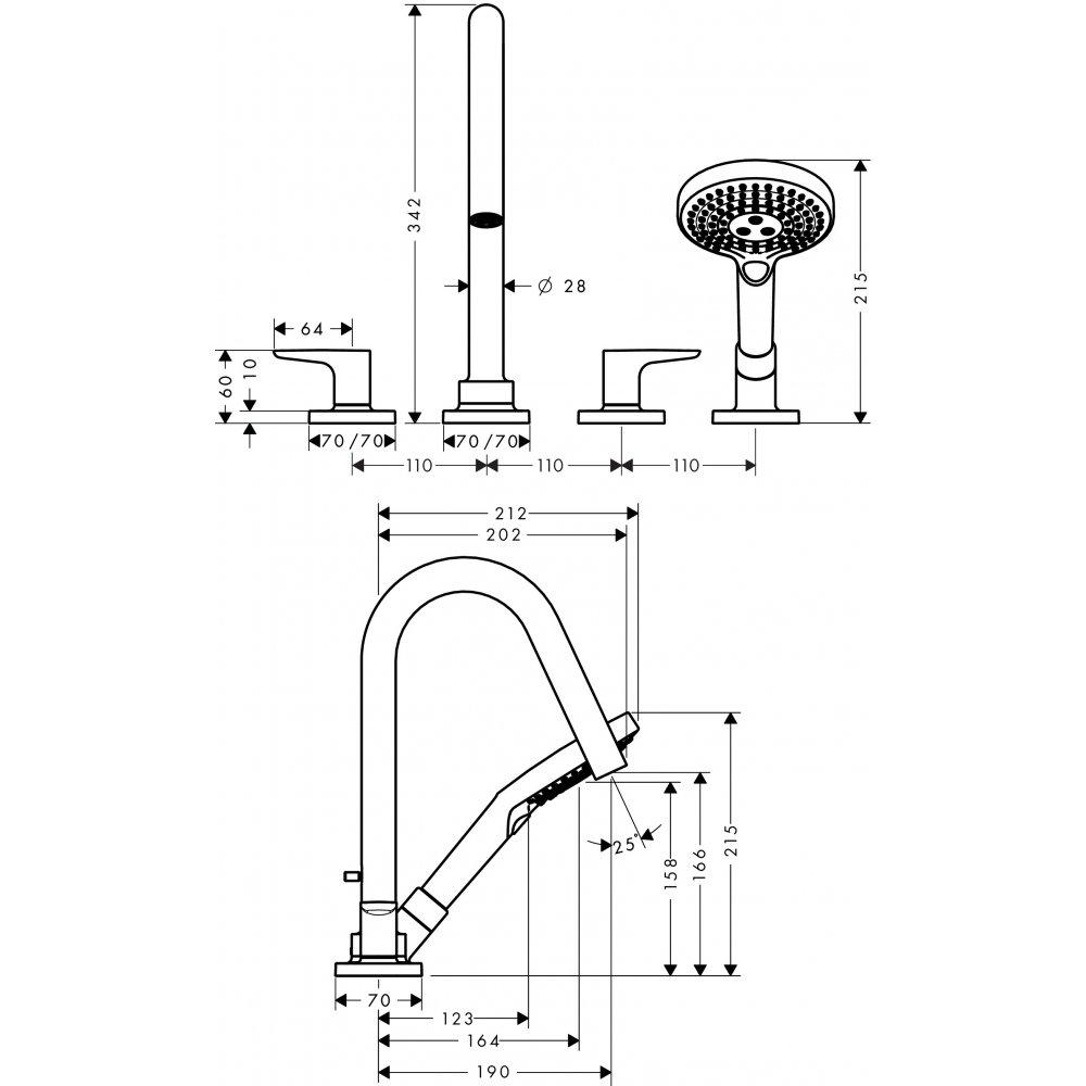 Смеситель для ванны AXOR Citterio M на 4 отверстия монтаж на плитку 1/2  хром  34454000