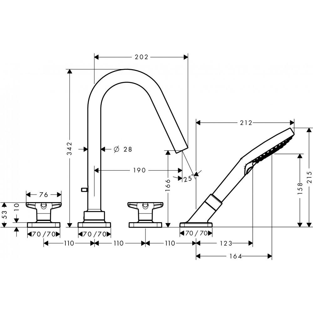 Смеситель для ванны AXOR Citterio M на 4 отверстия  34456000