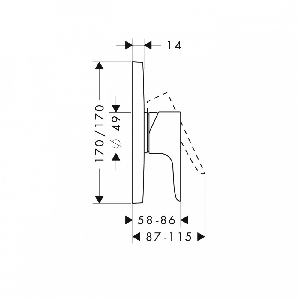 Смеситель для душа AXOR Citterio M для скрытого монтажа хром  34625000