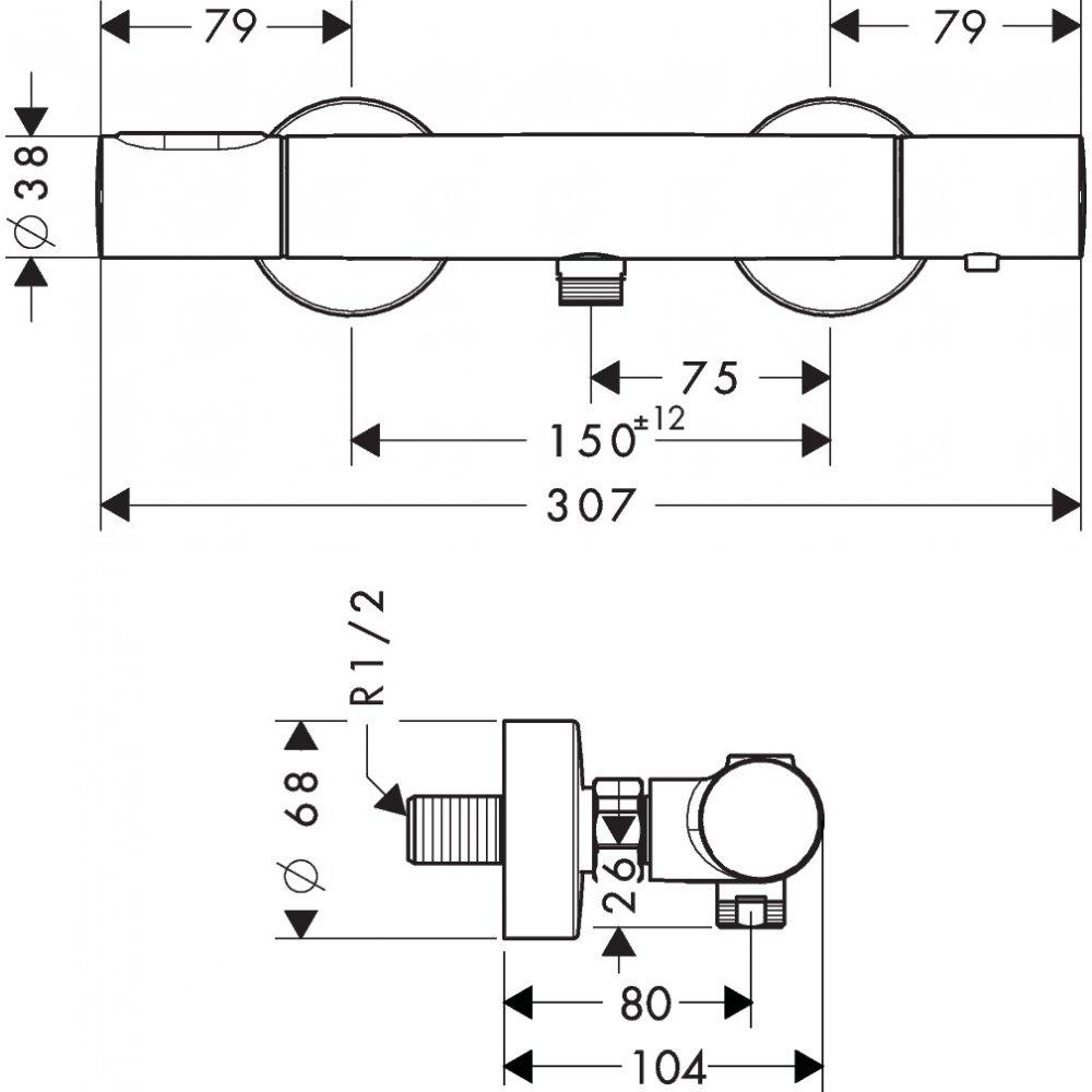 Термостат AXOR Citterio M для душа внешнего монтажа 1/2  шлифованный никель  34635000