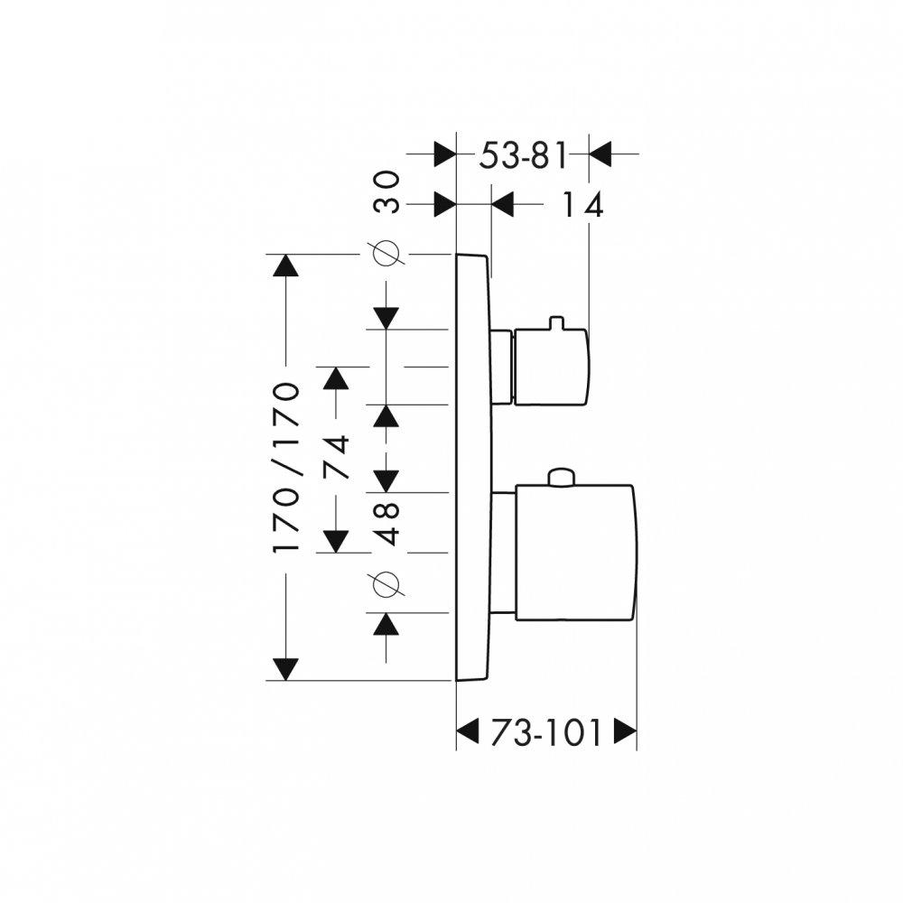 Термостат AXOR Uno с запорным вентилем для скрытого монтаж хром а  34705000