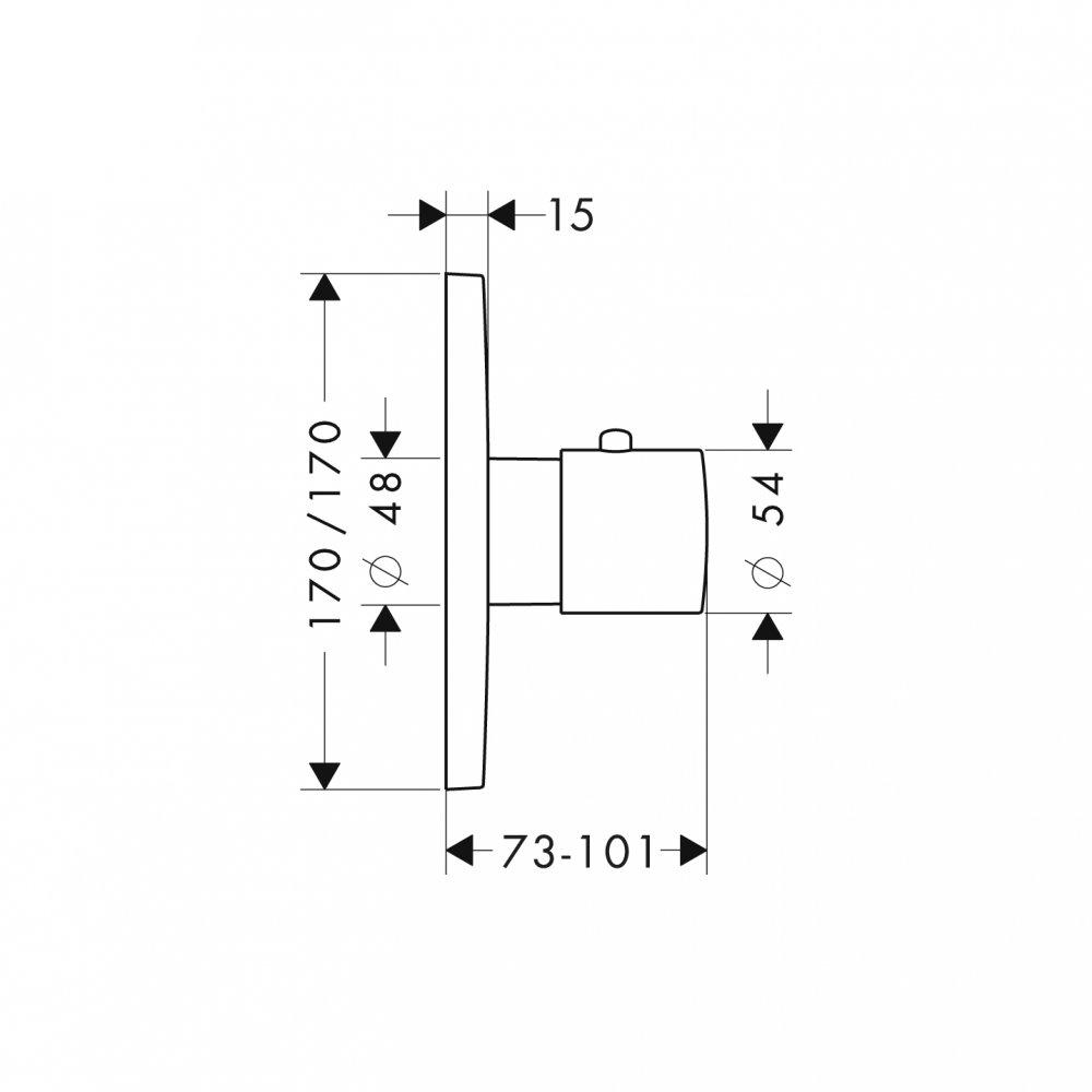 Термостат AXOR Uno для скрытого монтажа хром  34715000