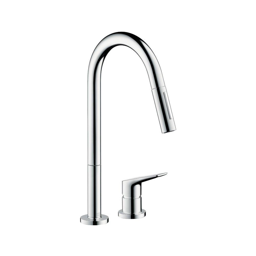 Смеситель для кухни AXOR Citterio M на 2 отверстия с выдвижным душем 1/2  нержавеющая сталь  34822800