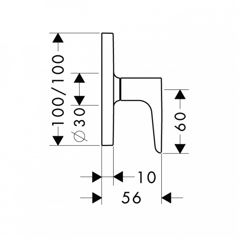 Запорный вентиль AXOR Citterio M для скрытого монтажа 1/2  и 3/4  хром  34960000