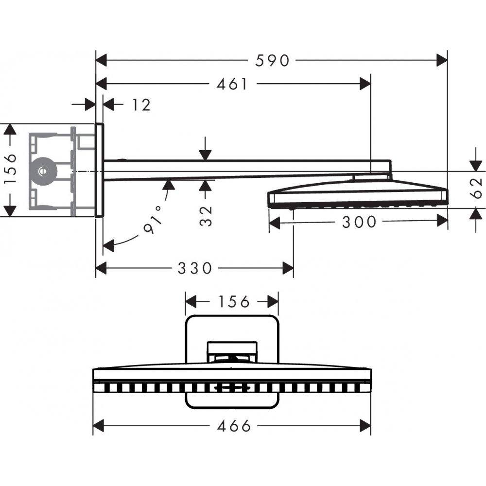 Верхний душ AXOR ShowerSolutions 460 х 360 3jet с душевым держателем и с розеткой со скругленными углами хром  35276000
