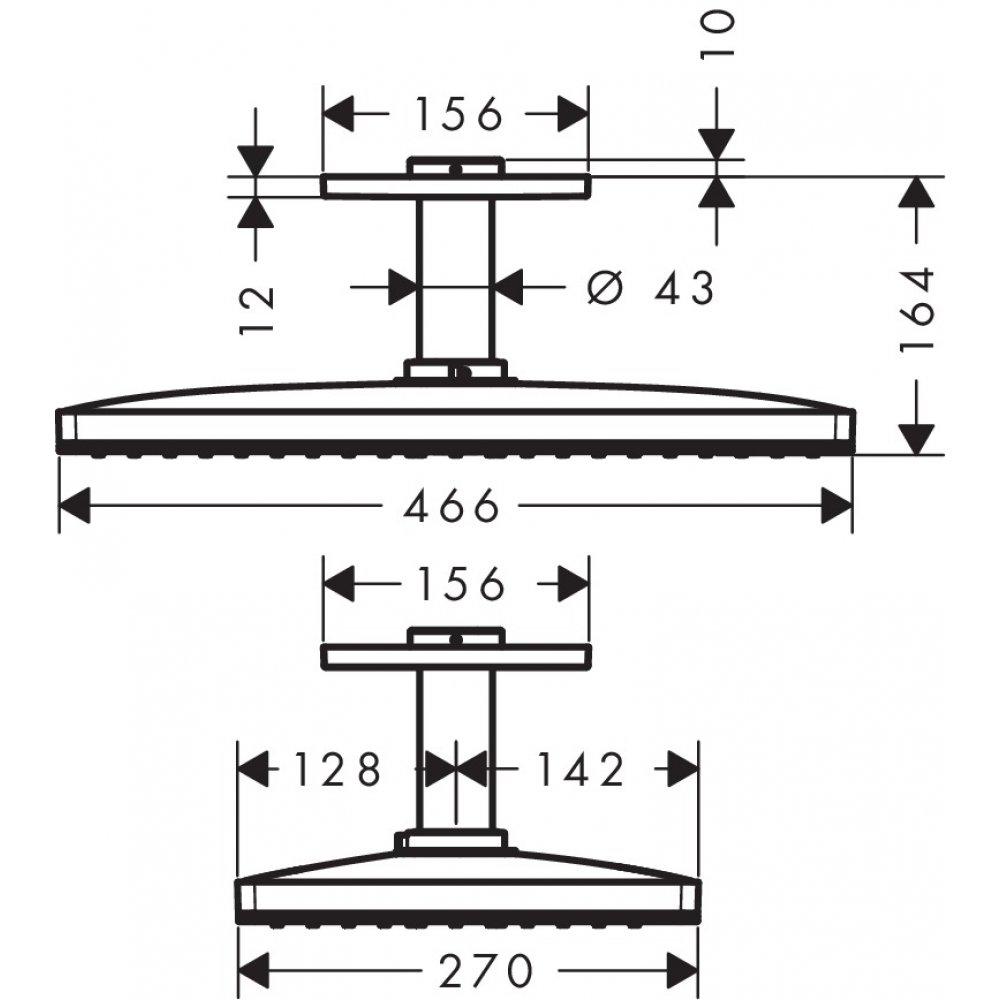 Верхний душ AXOR ShowerSolutions 460 x 300 1jet с потолочным подсоединением хром  35277000