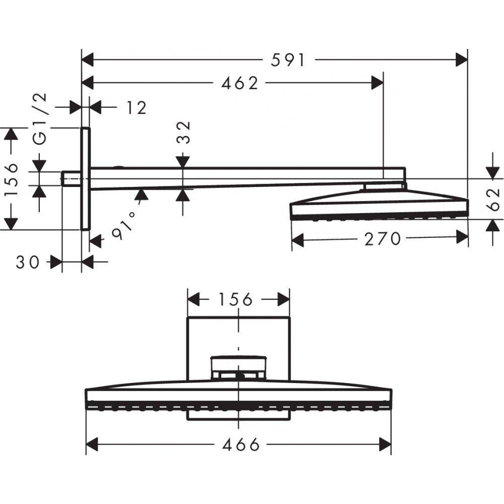 Верхний душ AXOR ShowerSolutions 460 х 360 1jet с душевым держателем и квадратной розеткой хром  35278000