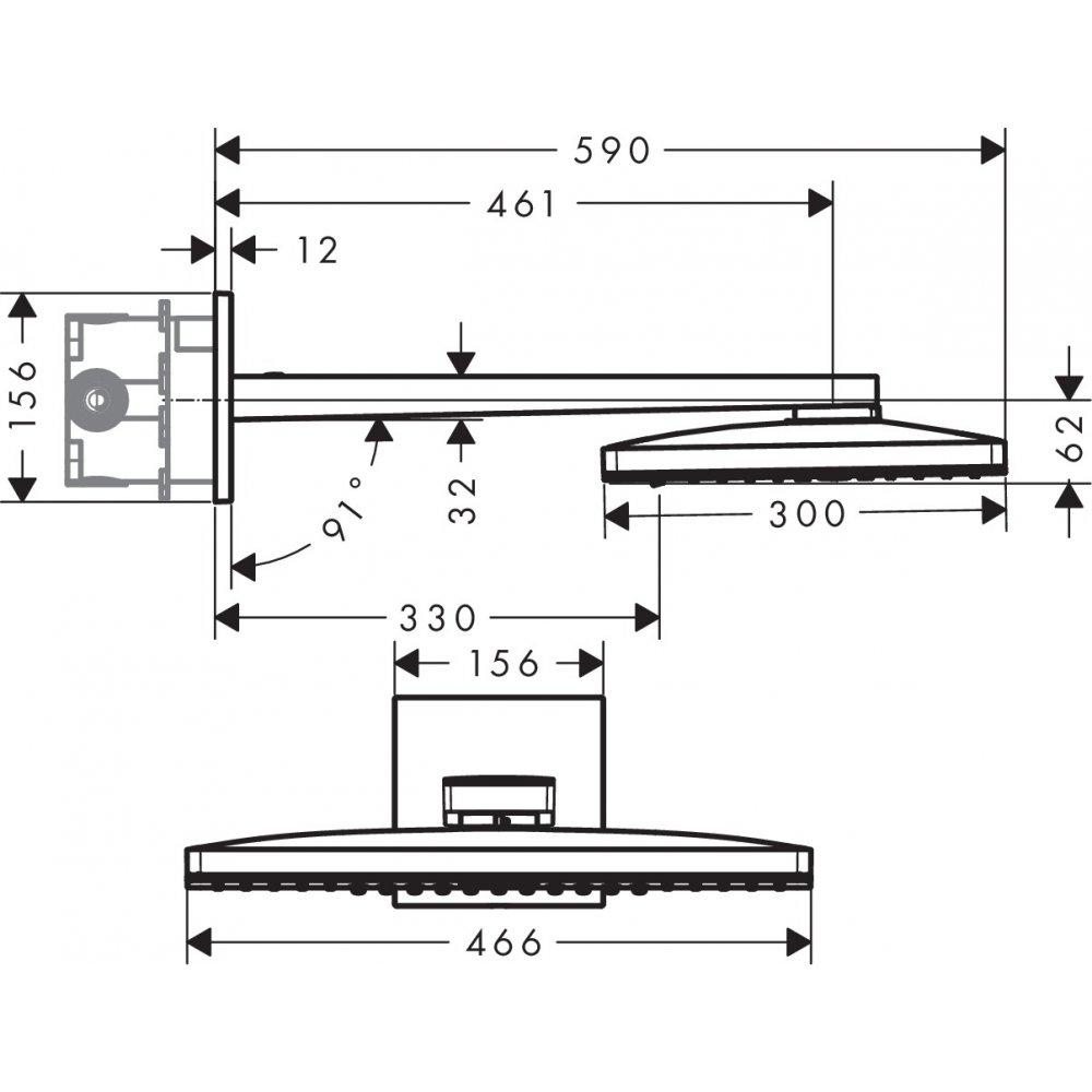 Верхний душ AXOR ShowerSolutions 460 х 360 2jet с душевым держателем и квадратной розеткой хром  35280000