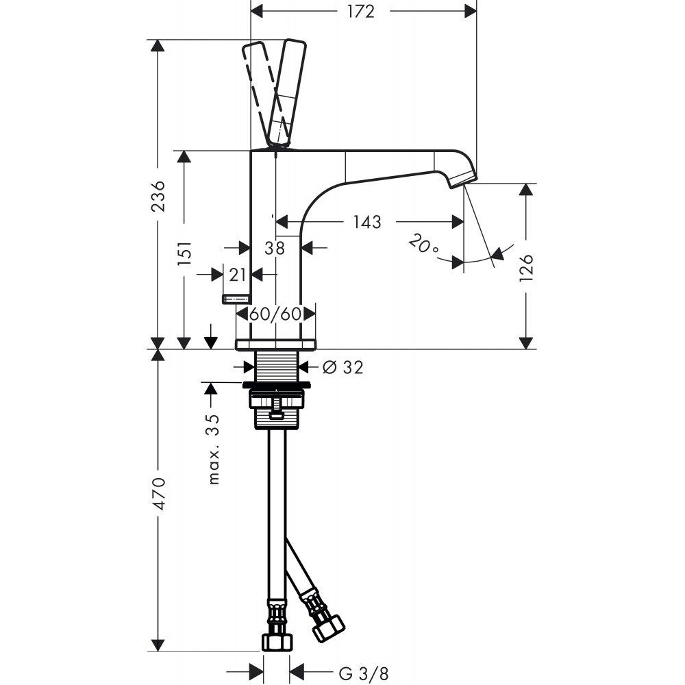 Смеситель AXOR Citterio E для раковины с высотой излива 125 мм со сливным гарнитуром хром  36100000