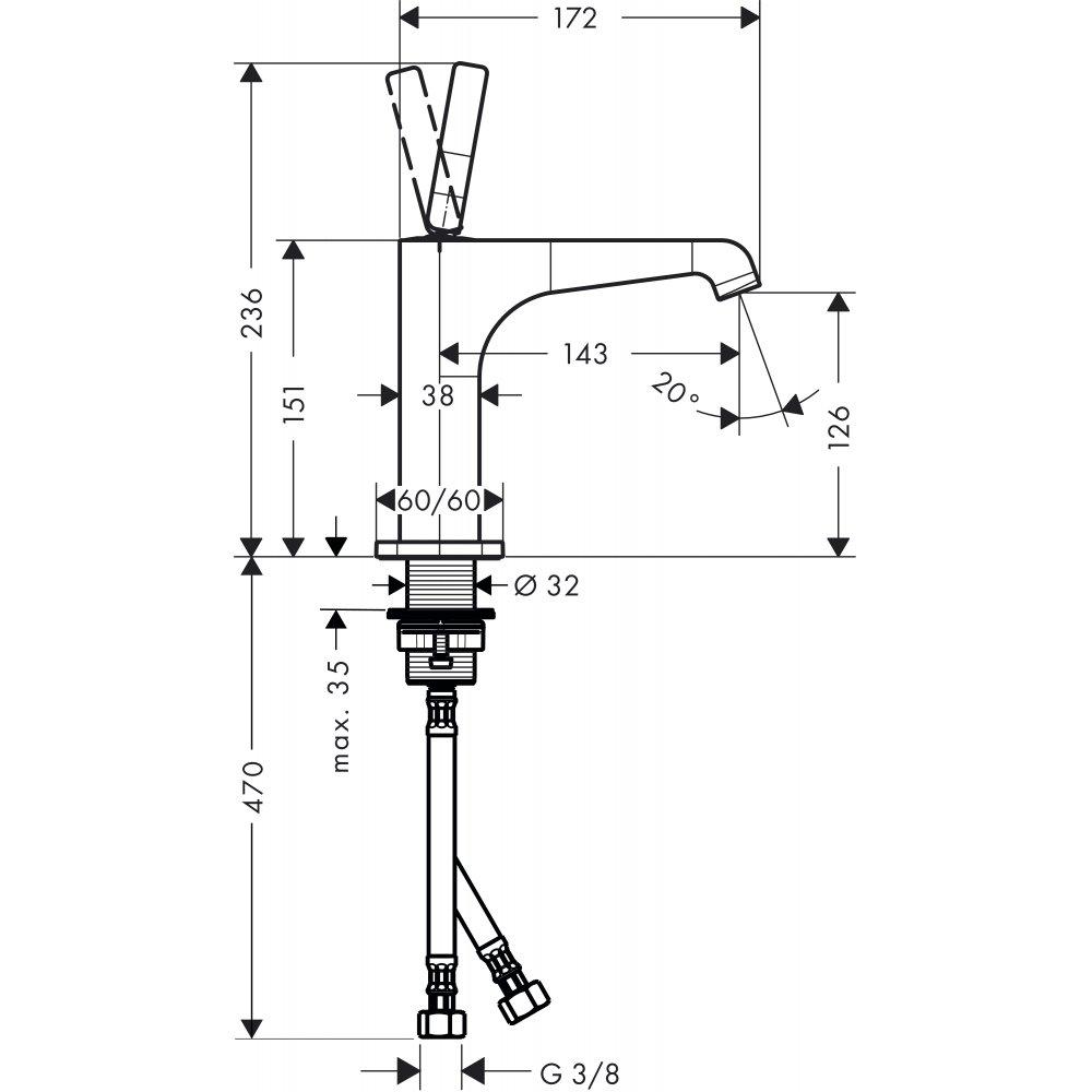Смеситель AXOR Citterio E для раковины с высотой излива 150 мм с незапираемым сливным набором хром  36101000