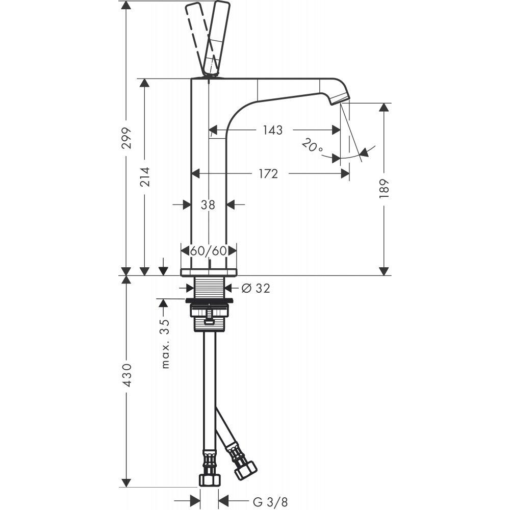 Смеситель AXOR Massaud для раковины в форме таза с высотой излива 220 мм с незапираемым сливным набором хром  36103000
